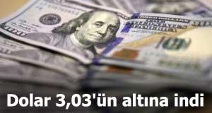 Dolar 3,03'ün altına indi